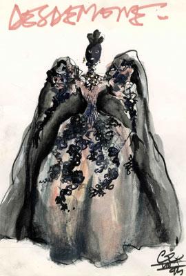 Vestido da personagem Desdêmona, em Otello, de Shakespeare